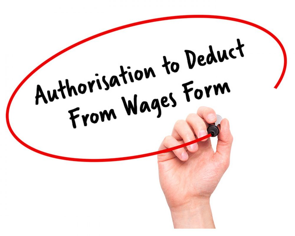authorisation to deduct from wages form signature staff